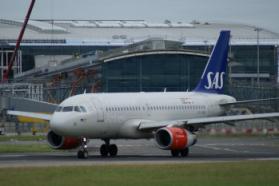 SAS AIRBUS LINING UP AT DUBLIN AIRPORT